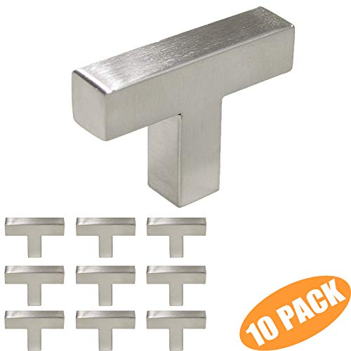 Probrico 10 Pack Single Hole Square Cabinet Knobs 2 inch Total Length Modern Stainless Steel Kitchen Cabinet Pulls Cupboard Drawer Handles Brushed ()
