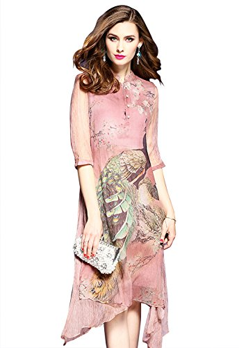 l Print Casual Boho A-line and Flare Party Swing Midi Dress ()