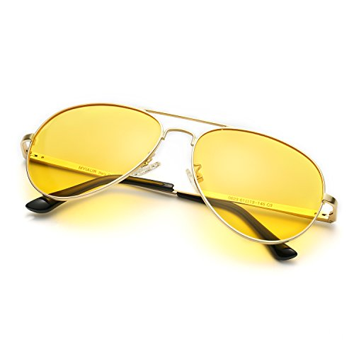 Classic Aviator HD Polarized Night Vision Metal Frame for Driving Sun Glasses (Night vision - For Men Glasses Fashionable
