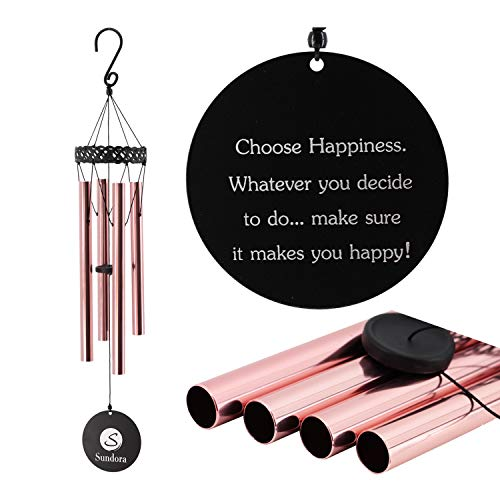 Amazing Grace Wind Chimes Outdoor, Memorial Wind Chimes Deep Tone, Beautiful Metal Wind Chimes with 4 Tubes, Great Décor for Home, Garden, Balcony, Porch, Indoor&Outddor (Red Copper) by Sundora