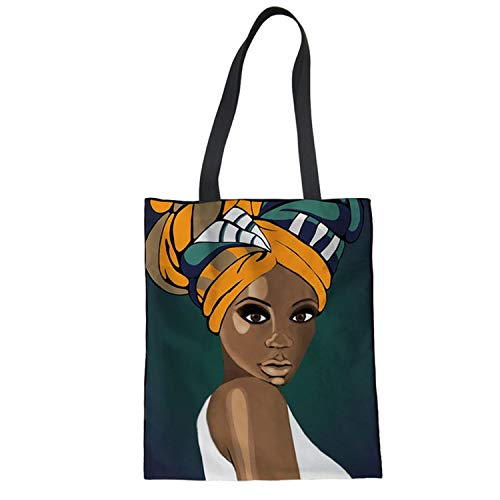 Art Afro Print Women Canvas Shoulder Bag Eco Shopping Tote Large Cotton Painting Handbags Students,T14]()