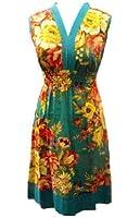 Turquoise Natalie épais fleur col V imprimé haut tunique long / robe - Commerce Équitable