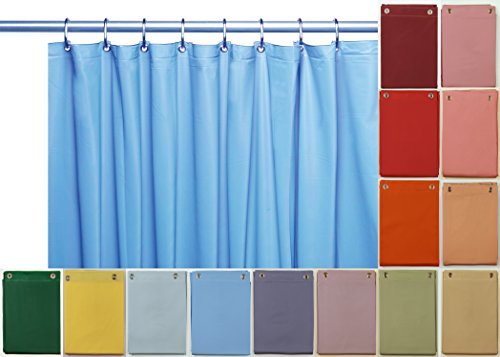 Venice Elegant Home Heavy Duty Vinyl Shower Curtain Liner with 12 Metal Grommets Sky Blue by Venice