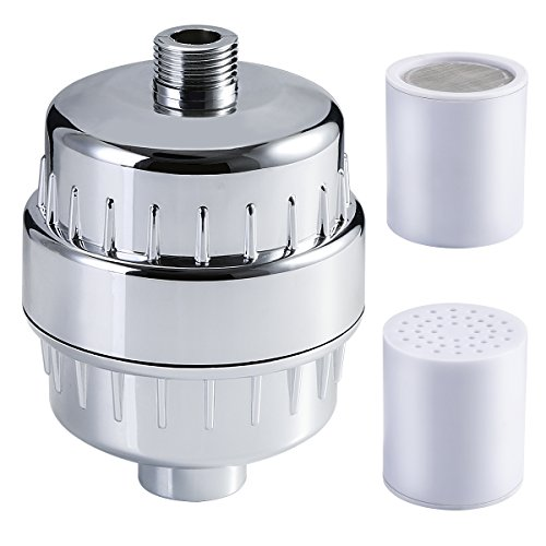 - Shower Filter, Leyeet 15 Stage High Output Shower Water Filter Softener, Removes Chlorine/Chrome/ Impurities, Reduces Dandruff/Eczema, Boosts Hair/Skin/ Nails Health, with 2 Replacement Cartridge