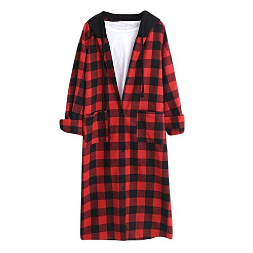 UONQD Women Hooded Winter Warm Wool Pockets Lattice Clothes Button Long Shirt Coat (Small,Red) -