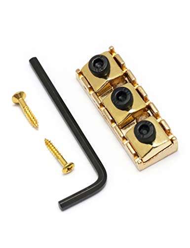 Holmer Electric Guitar String Locking Nut for Flord Rose Style Tremolo Bridge with Mounting Screws and Wrench (Gold)