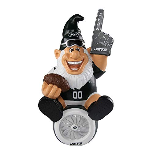 New York Jets NFL Garden Gnome 10.5 in, Outdoor Garden Statue with Hat Black White Color Lawn Figure Decoration Mini Figurine with Football Team Logo for Fan Team Spirit, Resin