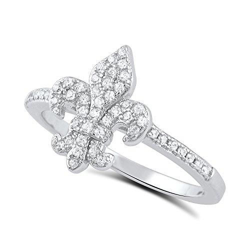 Sterling Silver Cz Fleur De Lis Ring Size 4-9