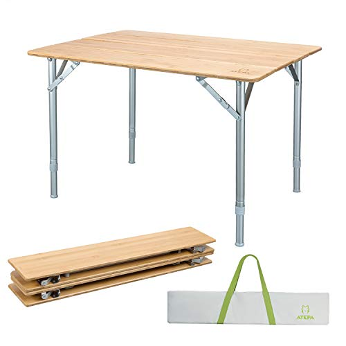 - ATEPA Folding Camping Table,Bamboo Portable Outdoor Picnic Table, Foldable Height Adjustable Legs Camp Table,31.5 × 23.6× 17-25.6 Inches,11.5lbs