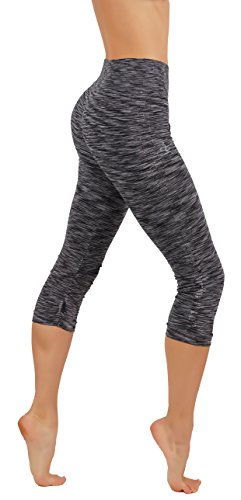 CodeFit Yoga Power Flex Dry-Fit Pants Workout Two Tone Color Leggings S-XL (L/XL USA 6-8, CF/YL64-BLK) ()