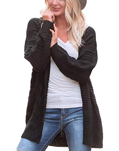 Omoone Womens Long Sleeve Open Loose Cable Knit Solid Sweater Cardigan Outerwear(0002-Black-XL) Cable Knit Cardigan Sweater