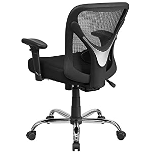 Flash Furniture HERCULES Series Big & Tall 400 lb. Rated Black Mesh Swivel Task Chair with Height Adjustable Back and Arms