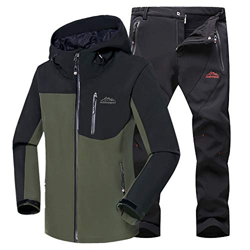 Hombre Transpirables negro Montaña Ejército Conjunto Softshell Chaqueta Pantalon Verde Chaqueta WANPUL Pantalones Outdoor Softshell Montaña w6fq0EWnH