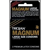 Trojan - Magnum Large Condoms Lubricated (One Pack Containing 3 Pieces)
