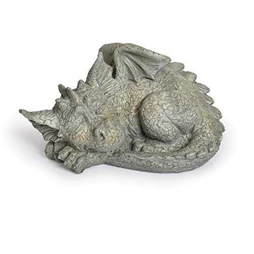 Besti Decorative Outdoor Dragon Garden Statue - Cold Cast Ceramic Statue | Lawn and Yard Decoration | Weather-Resistant Finish (Facing Left) ()