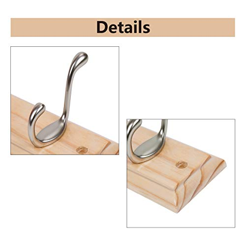 DOKEHOM DKH0116NPX2 2 Set 6-Satin Nickel Hooks -(4 Colors, Available 4 and 6 Hooks)- on Pine Wooden Board Coat Rack Hanger, Mail Box Packing by DOKEHOM (Image #3)
