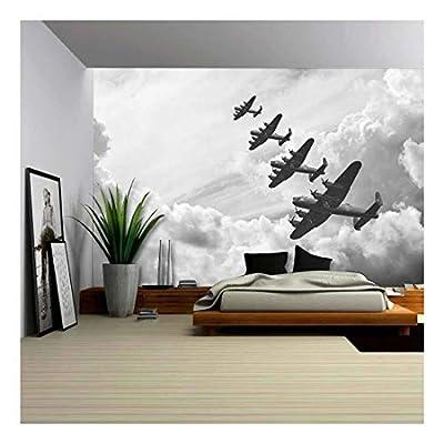 Black and White Retro Image of Lancaster Bombers...