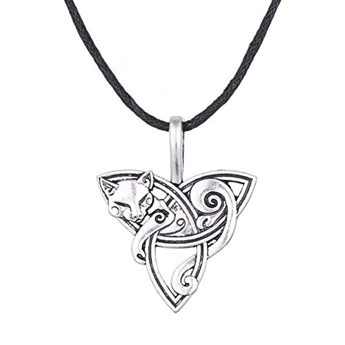 Head Pendant Cat - Ztuo Wiccan Celtic Knot Animal Cat Triquetra Head Symbol Pendant Necklace Amulet Men Women Jewelry