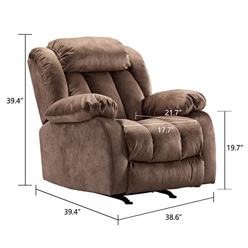 Living Room CANMOV Rocker Recliner Chair Manual Heavy Duty Reclining Chair with Contemporary Arms and Back, Brown