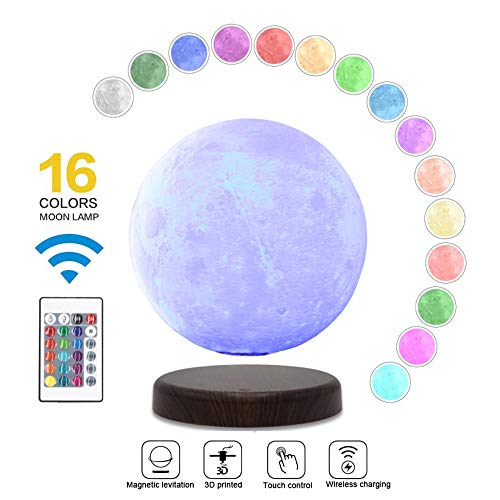 LEVILUNA 7.1'' /16 Colors Magnetic Levitating Moon lamp, 3D Seamless Printed &Touch Control, Magic Night Light, Creative Gifts for him, Best Business for Your Customer (7.1''/16colors)