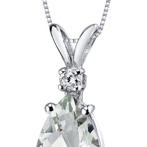 Revoni 14ct or blanc 585/1000 en forme de poire 1.50 Carats Améthyste verte diamant pendentif Collier
