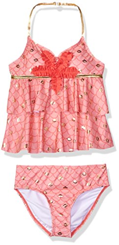 (Jantzen Big Girls' Mermaid Ruffle Tankini Swimsuit, Coral, 7)