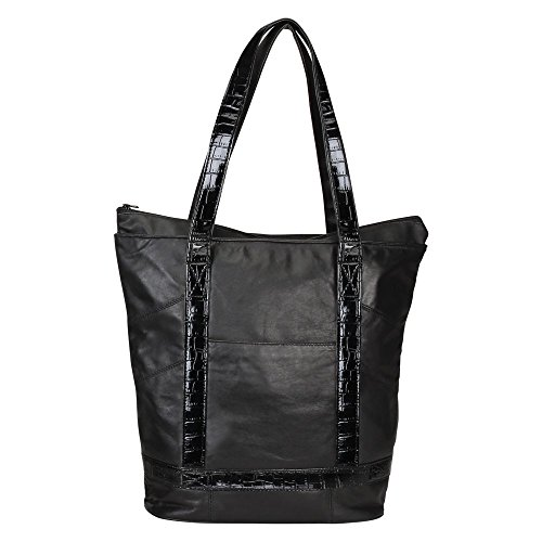 Bellino Leather Tote - BELLINO P5523 Leather Laptop Tote (Black)