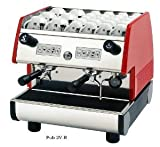 La Pavoni PUB 2V-B 2 Group Volumetric Electronic programmable Dosing Espresso Machine with Digital Control Pad and Microprocessor (Red)