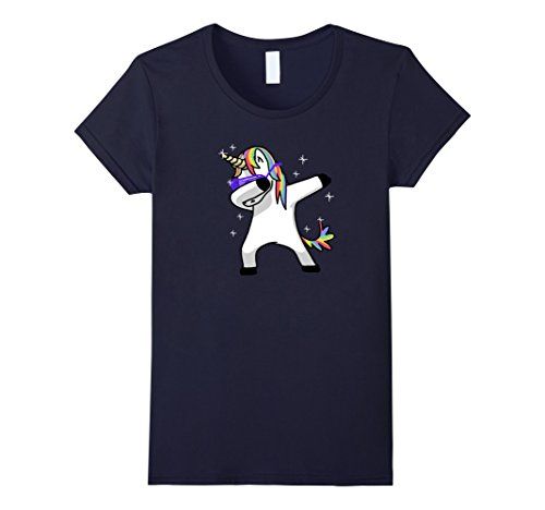Women's Dabbing Unicorn Shirt Dab Hip Hop Funny Magic Small Navy (Gay Bunny Costume)