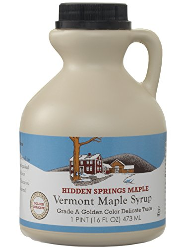 Hidden Springs Natural Vermont Maple Syrup, Golden Delicate, 16 Ounce