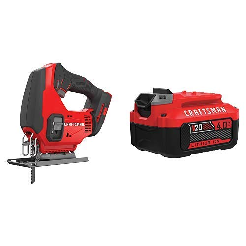 CRAFTSMAN V20 Cordless Jig Saw with Lithium Ion Battery, 4.0-Amp Hour, Charger Sold Separately CMCS600B CMCB204