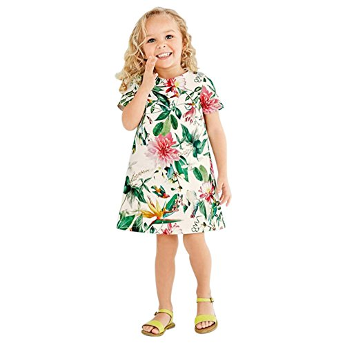 BOBORA Baby Girls Flower Print Princess Mini Skirt Dress XXL