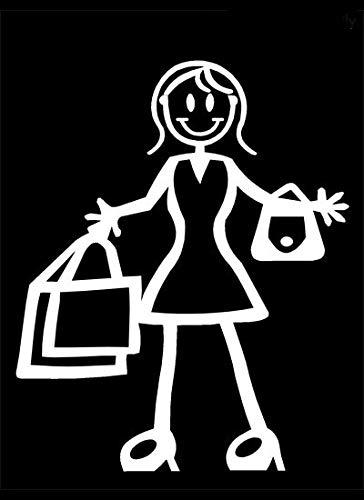 My Stick Figure Family Car Window Vinyl Bumper Sticker Decal Adult Female Shopping F13