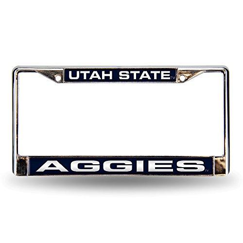 NCAA Utah State Aggies Laser Cut Inlaid Standard Chrome License Plate Frame, Chrome ()