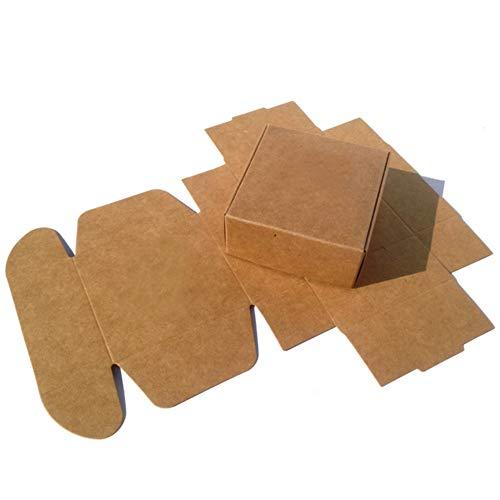 50 Packs Bulk Cardboard Box Brown Kraft Paper Soap Boxes Gift Favor Jewelry Chocolate Food Storage Cake Craft Pack (2.95x2.9x1.18 inch (7.5x7.5x3.0cm))
