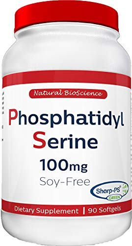 Phosphatidylserine Soy-Free 100mg, Patented Sharp-PS Formula, Phosphatidyl Serine Complex from Sunflower Lecithin, Natural Brain Booster for Memory and Focus, Soy-Free, Allergen-Free, Non-GMO 90 Count
