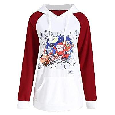 iFOMO Womens Girls Santa Claus Print Long Sleeve Hoodie Hooded Sweatshirt Red and White Blouse