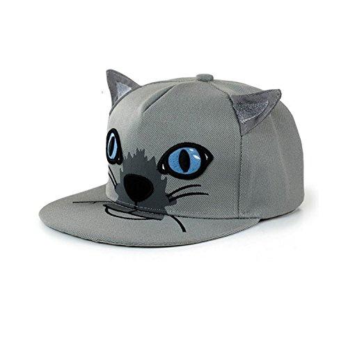 Rules Cat Number (Pickin Women Adjustable Cat Ear Flat Bill Hip Hop Snapback Baseball Cap,Gray)