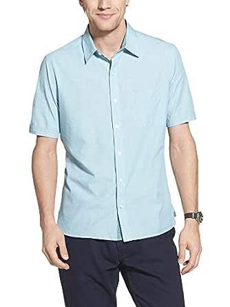Geoffrey Beene Mens 5619030 Slim Fit Short Sleeve Button Down Solid Shirt Short Sleeve Button Down Shirt - Blue - Small