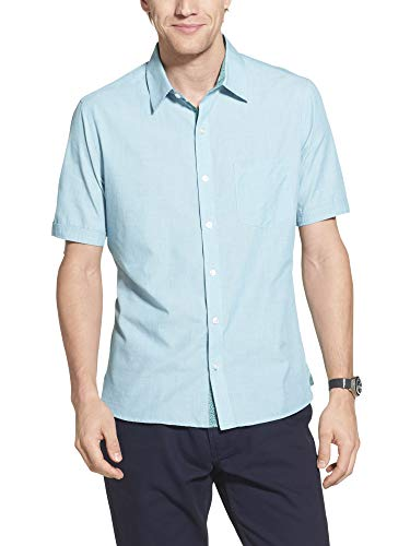 Geoffrey Beene Men's Slim Fit Easy Care Short Sleeve Button Down Shirt, Blue Glow Solid, Small