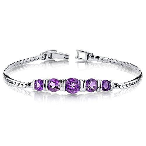 Amethyst Bracelet Sterling Silver 3.75 Carats 5 Stone Design