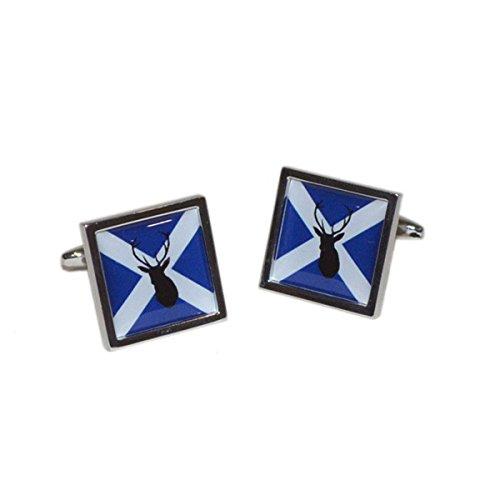 (Gtr Men's Cufflinks X2BOCSB068 Cufflinks Scottish Saltire Flag with Stag design)