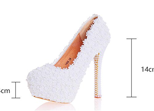 Flowers White Quality Womens 36 14cm Lace Good Wedding Evening Shoes Bride Court Platforms Party Heel MNII Bridesmaids High H5fqq