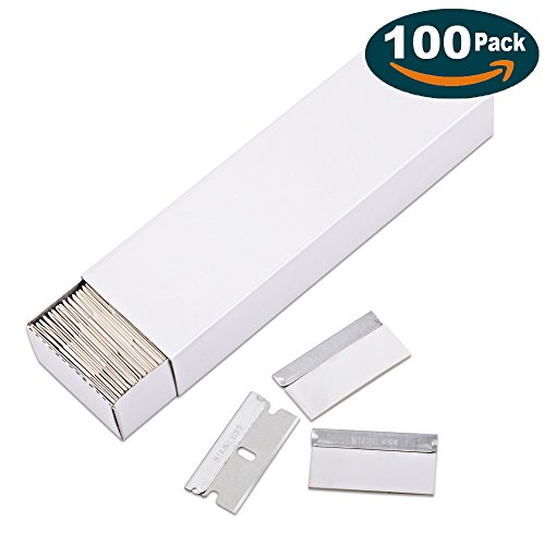 Ehdis 100 Pack Single Edge Stainless Steel Safety Razor Blades for Scraper Scrapping Cutting Removing Universal Compatible Tools Safety Razor Scraper