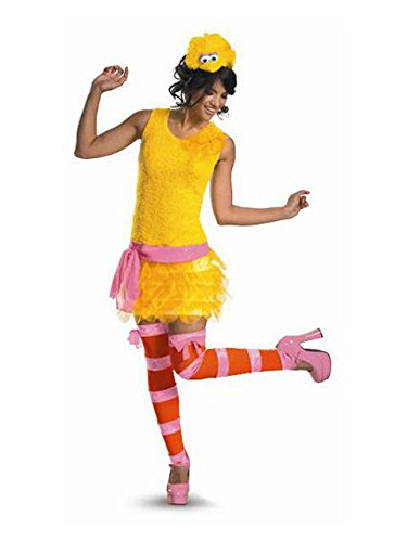 Disguise Adult Sassy Female Big Bird, Yellow/Orange/Pink, Medium (8-10) Costume -