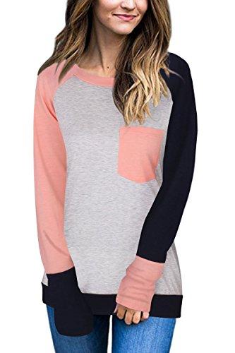Haloon Women's Trendy Long Sleeve Color Block T Shirt Casual Baseball Tops Pink L