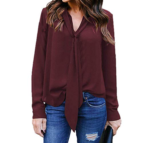 Chic Blusen Cou Chemise Casual Top Bowknot Irrgulier Haut Shirts Mode Printemps Femme Winered Strappy Manches Uni Manche Jeune Elgante V Longues rv8ra