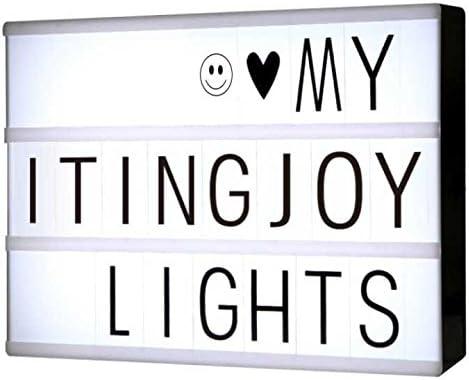 Cajas de luz LED A4 Cartas de bricolaje, ITingjoy Cajas de luz cinemáticas con 90 letras y símbolos negros personalizables para decoración Habitación/Fiesta/Boda/Cumpleaños/Familia/Tienda: Amazon.es: Iluminación