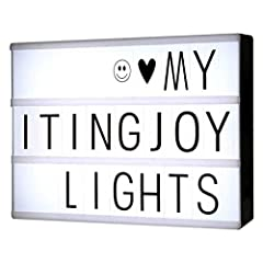 Decorative Letter LED lightbox with 90 letters and symbols for making your very own fun messages. You can change the messages as often as you like simply by sliding the letters.This light box includes:One free combinatino light box90 Black Le...