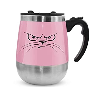 Self stirring mug, LEADNOVO Auto Self Mixing Stainless Steel Coffee Cup Vortex Mixer for Bulletproof, Keto Coffee/Tea/Hot Chocolate/Cocoa Protein Shaker Mug for Office/Kitchen/Home/Travel -15.2oz Pink
